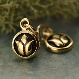 Tiny Circle  Charm with Lotus Design - Bronze DISCONTINUED