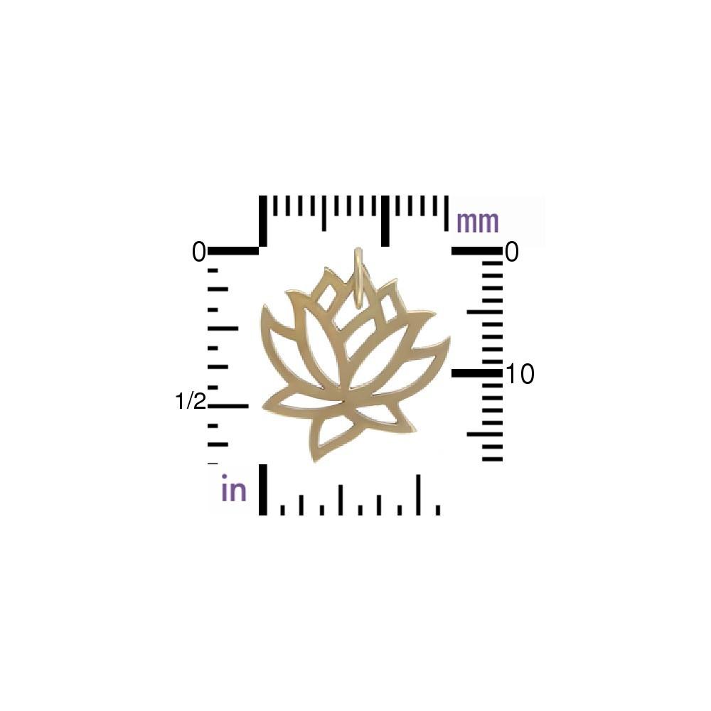 Medium Lotus Jewelry Charm - Bronze 18x15mm