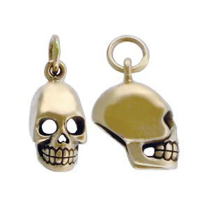 Medium Skull Jewelry Charm - Bronze 16x7mm