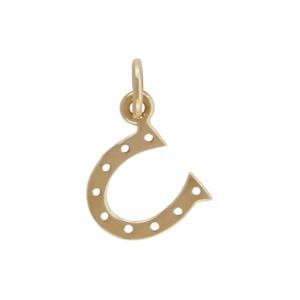 Small Horseshoe Jewelry Charm - Bronze 16x10mm