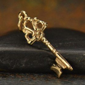 Key Jewelry Charm with Victorian Crest - BronzeDISCONTINUED