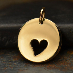 Round Jewelry Charm with One Heart Cutout - Bronze 16x12mm