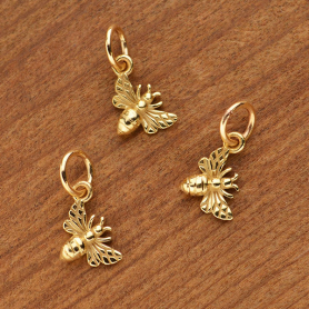 Tiny Honey Bee Charm - Bronze