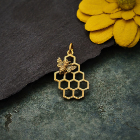 Bronze Honey Bee Charm on Honeycomb 23x11mm