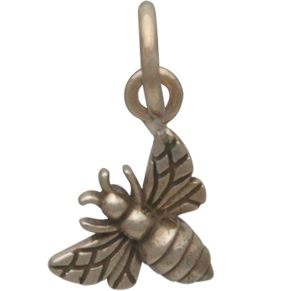 Tiny Honey Bee Charm - Bronze - Left Side 13x7mm