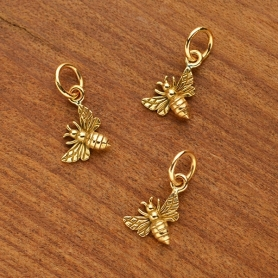 Tiny Honey Bee Charm - Bronze - Left Side
