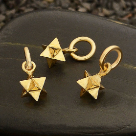 Small Merkaba Charm - Bronze Sacred Geometry Charm 13x6mm