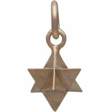 Large Merkaba Charm - Bronze Sacred Geometry Charm 15x8mm