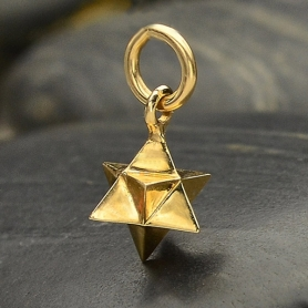 Large Merkaba Charm - Bronze Sacred Geometry Charm 15x8mm