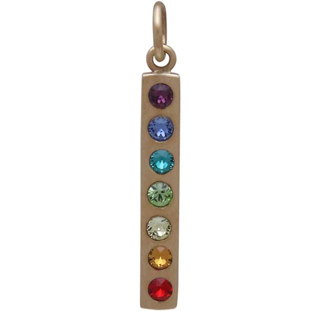 Bronze Chakra Pendant with Rainbow Swarovski Crystals 26x3mm