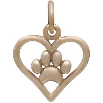Bronze Openwork Heart Charm with Paw Print 15x11mm