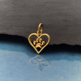 Bronze Openwork Heart Charm with Paw Print 15x11mm