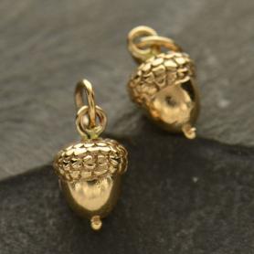 Medium Acorn Jewelry Charm - Bronze 15x7mm