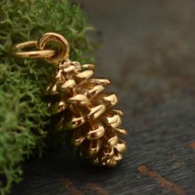 Pinecone Jewelry Charm - Bronze 17x7mm
