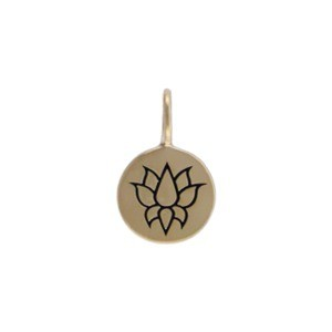 Small Round Jewelry Charm with Etched Lotus - Bronze 13x8mm