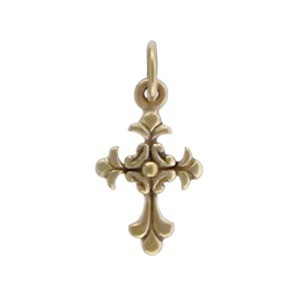 Textured Cross Bronze Jewelry Charm 18x9mm