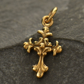 Textured Cross Bronze Jewelry Charm 18x9mm