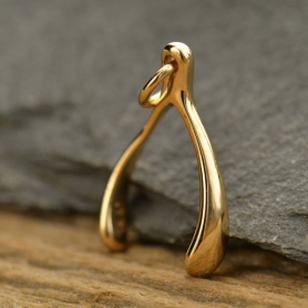 Medium Wishbone Bronze Jewelry Charm