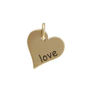 Word Charm Love in Heart Shape - Bronze DISCONTINUED