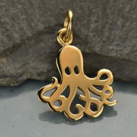 Flat Octopus Bronze Jewelry Charm