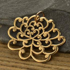 Large Chrysanthemum Flower Bronze Jewelry Charm DISCONTINUED