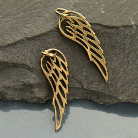 Small Wing Bronze Jewelry Charm 27x8mm
