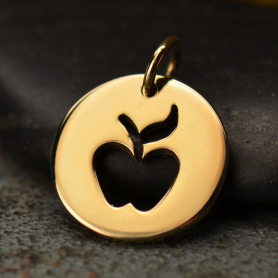 Round Bronze Jewelry Charm with Apple Cutout 15x12mm