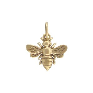 Small Bee Jewelry Charm - Bronze 14x12mm