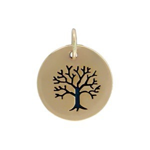 Bronze Tree of Life Etched on a Round Charm 16x12mm
