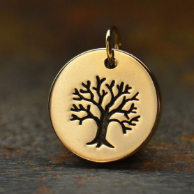 Bronze Tree of Life Etched on a Round Charm -12mm