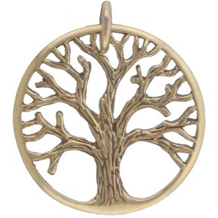Med Textured Tree of Life Pendant - Bronze 26x22mm