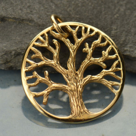 Med Textured Tree of Life Pendant - Bronze