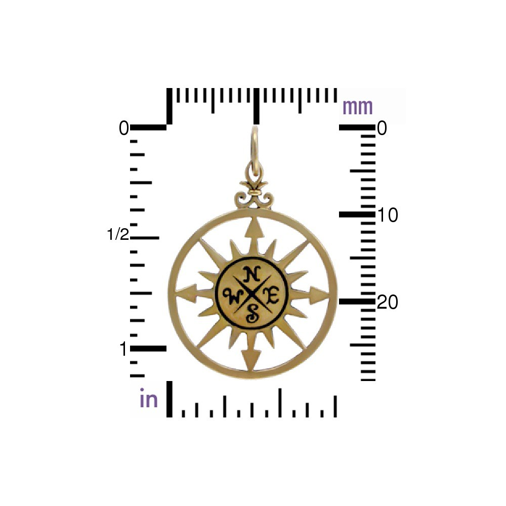 Compass Rose Bronze Jewelry Pendant 30x20mm