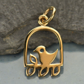 Bird on a Perch Bronze Jewelry Charm DISCONTINUED
