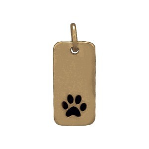 Paw Print Bronze Jewelry Charm on Rectangle Tag 18x7mm