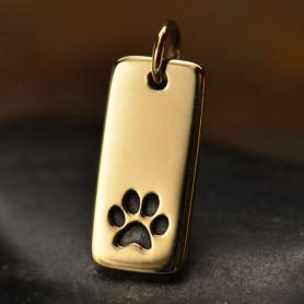 Paw Print Bronze Jewelry Charm on Rectangle Tag 18x7mm