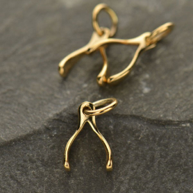 Small Wishbone Bronze Jewelry Charm
