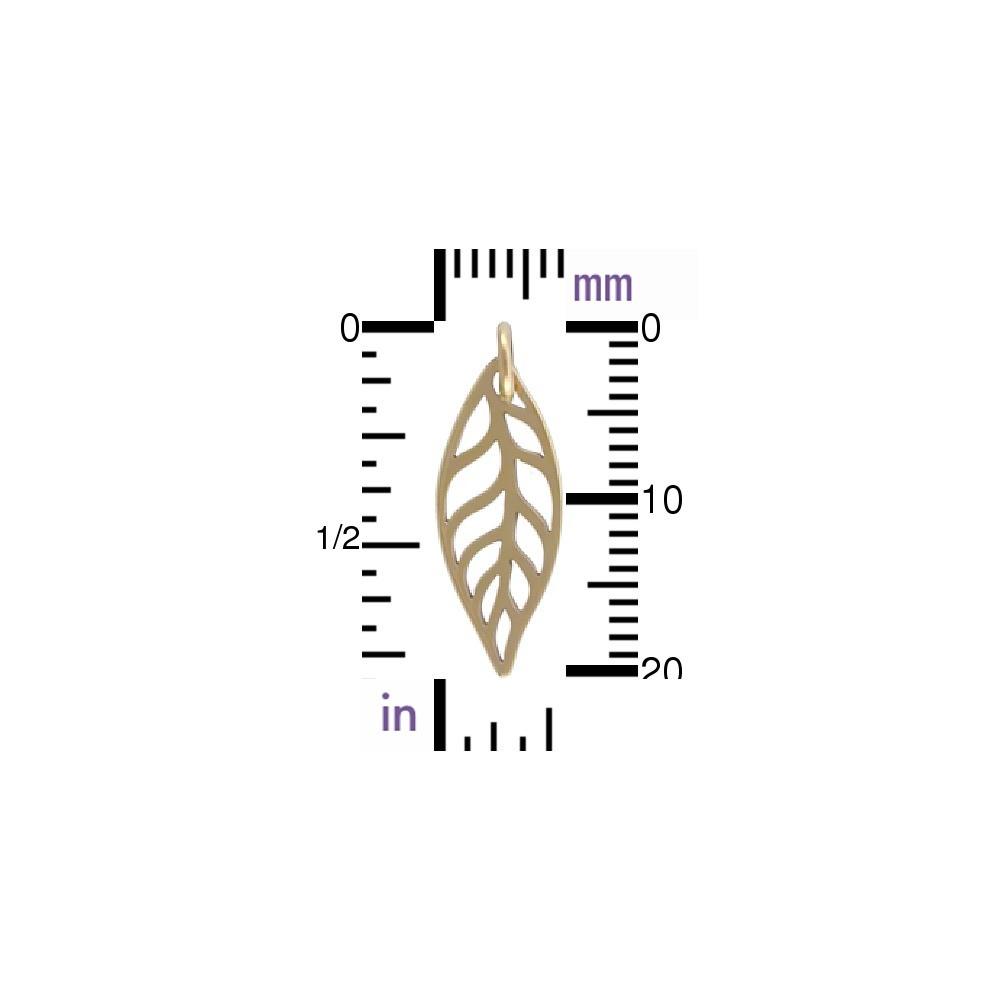 Leaf Bronze Jewelry Charm 24x8mm