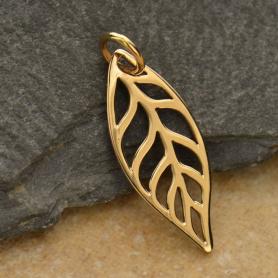 Leaf Bronze Jewelry Charm 24x8mm DISCONTINUED