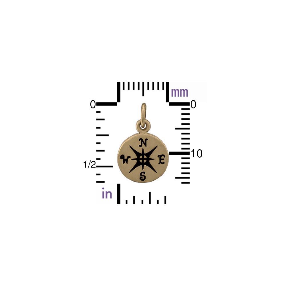 Bronze Compass Charm 16x10mm