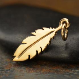Flat Feather Bronze Jewelry Charm