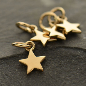Bronze Tiny Flat Star Charm 12x6mm