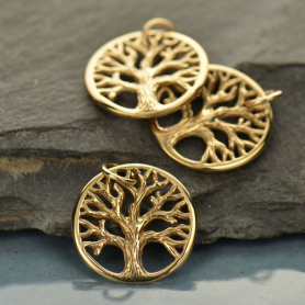 Sm Textured Tree of Life Jewelry Charm - Bronze