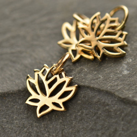 Tiny Lotus Bronze Jewelry Charm 12x9mm