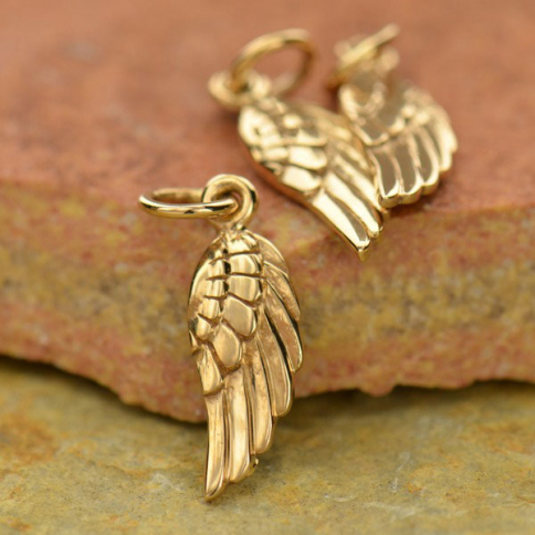Angel Wing Double Sided Tiny Pendant Tiny Charm Fast Shipping from USA Closed Jump Ring 6x14.3mm Sterling Silver