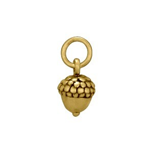 Small Acorn Bronze Jewelry Charm 12x6mm