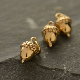 Small Acorn Bronze Jewelry Charm 12x6mm