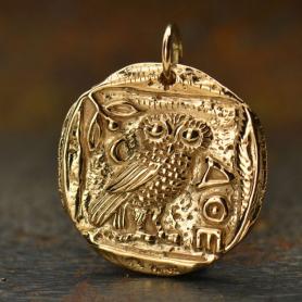 Coin Charm Athena Owl Charm Owl of Athena Bronze 24x19mm