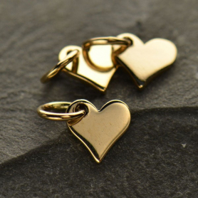 Small Heart Jewelry Charm - Bronze 10x7mm