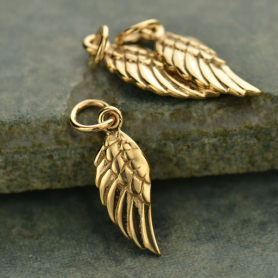 Bronze Angel Wing Charm Left Side 20x6mm